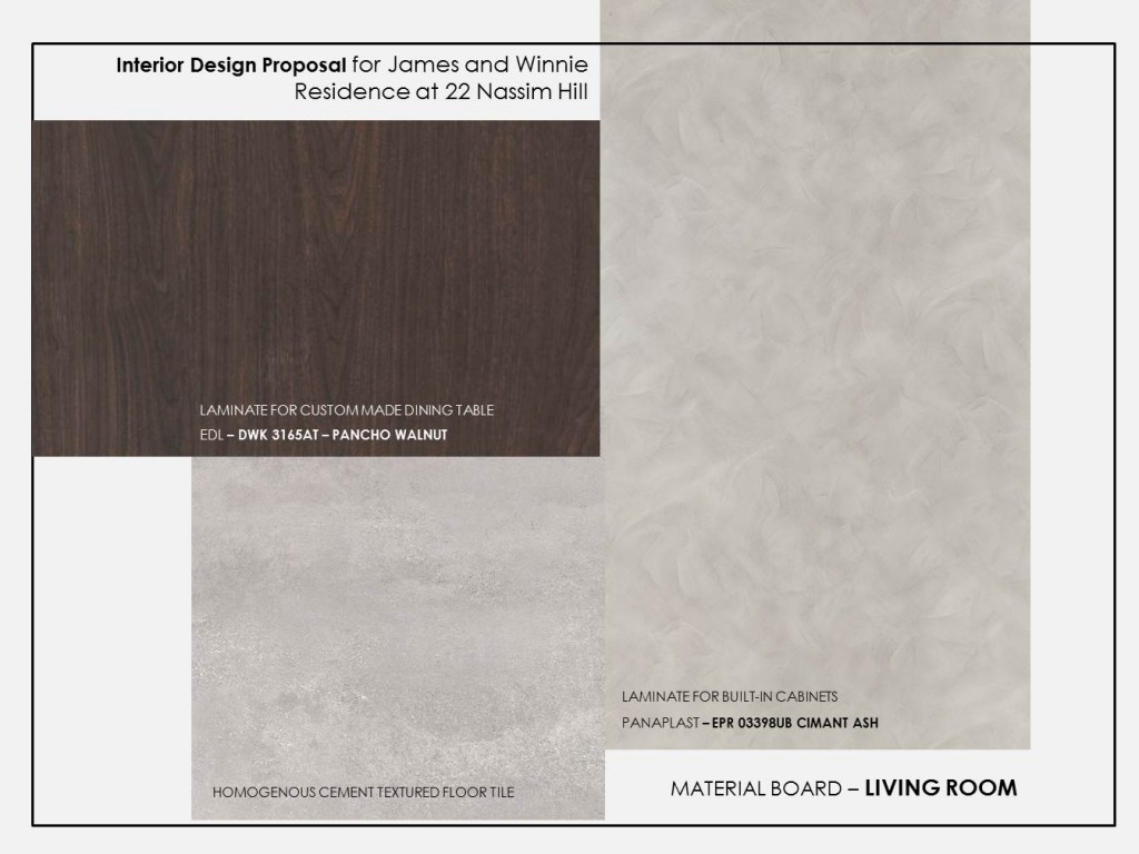 Material Board Sample for Living Area