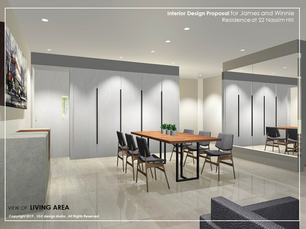 View of Proposed Interior of Dining  - Residence at Nassim Hill.