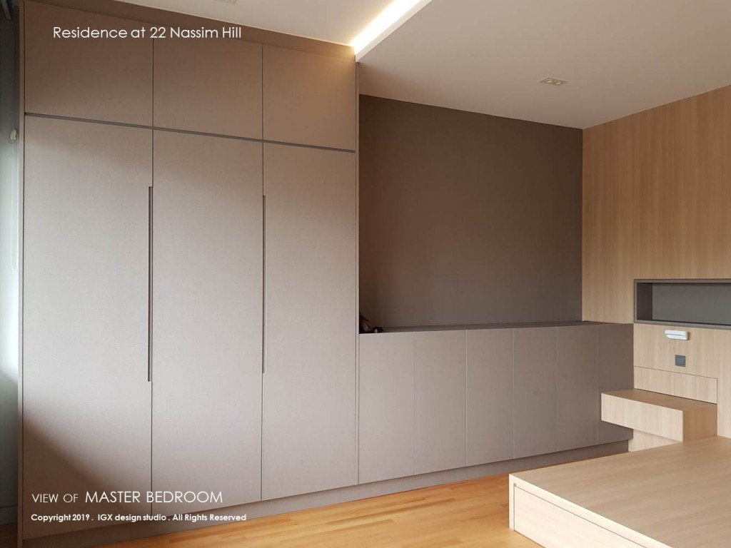 Raw View of Master Bedroom wardrobe clad in a neutral warm grey laminate finish.